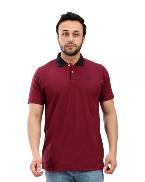 0a2f7c18 Andora Contrast Collar Short Sleeves Cotton Polo Shirt for Men - Maroon