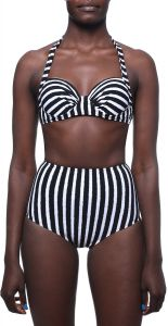 434c01e5ba03 JB Halter-Neck Underwire Top and High-Waist Bottom Striped Bikini Set For  Women - Black and White