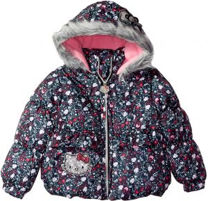 144063466 Hello Kitty Big Girls' All Over Printed Puffer Jacket with Fur Trim Hood,  Multi Color, 12
