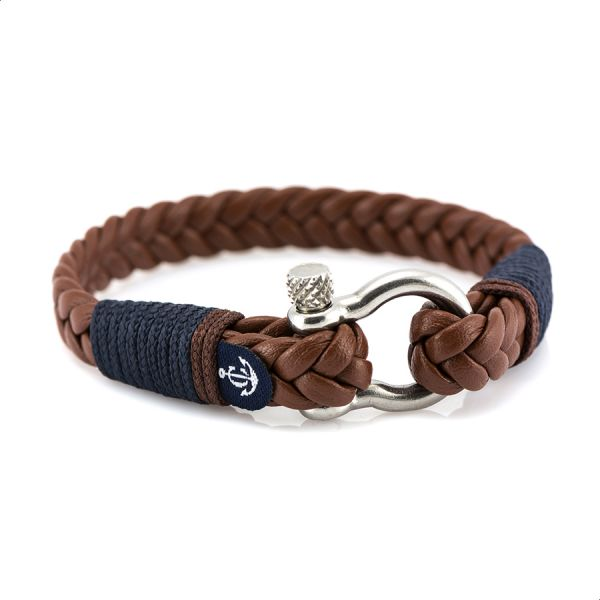3eaa6459f91650 Constantin Nautics Braided Leather Bracelet with Stainless Steel ...