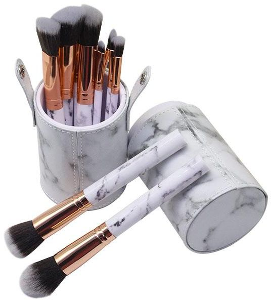 Makeup Brushes 10-Piece Marble Makeup Brush Set with Foundation Powder Mineral Eye Face Make Up Brushes Holder