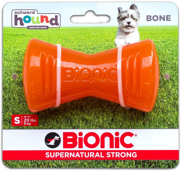 Outward Hound Tough Rubber Dog Bone Durable Chew Toy For Small Dogs By Bionic Small Orange