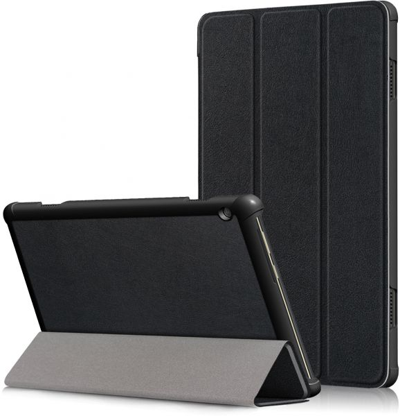 For Lenovo Tab M10 TB-X605L Tablet 10.1 inch Cover, Ultra Slim Ligthweight Tri-fold Air Cushion Anti Crack Kickstand Flip Case - Black