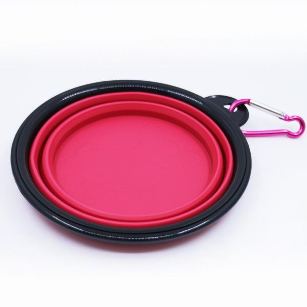 Collapsible Dog Bowl Round Pet Bowl Small Foldable Expandable Cup Dish for Pet Cat Food Water Feeding Portable Travel Bowl Free Carabiner Red