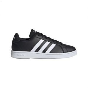 good hot sales release date: Adidas Grand Court Base Two-Tone 3-Stripe Low-Top Lace-Up Tennis Sneakers  for Men - Core Black, 44 2/3