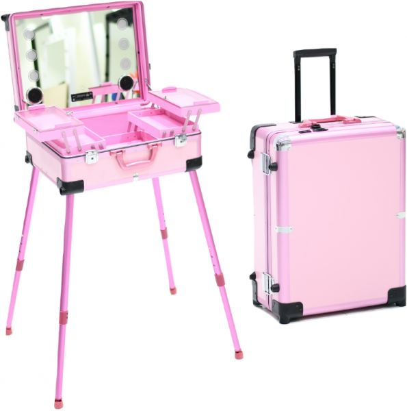Makeup Case with Bluetooth Speaker, Standing Portable Makeup Station with  LED Lighted Mirror, Rolling Makeup Organizer Storage Case for Travel