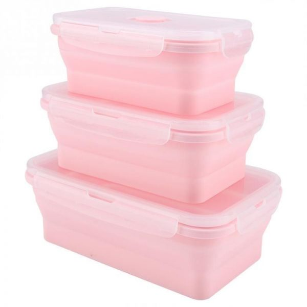 350/500/800mL Portable Silicone Lunch Box Set Folding Microwave Safe Lunchbox Food Container