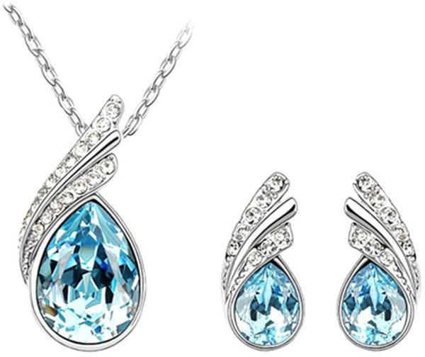 Women's Jewelry Set 2 Pcs Blue Fashion Elegant Earrings Pendant Drop Earring Necklace Jewelry Set Charm Crystal Pendant All Match Jewelry Accessories