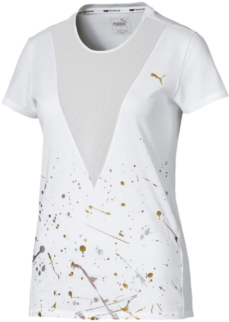 Puma Women's Metal Splash Deep V Tee, White 02, Large