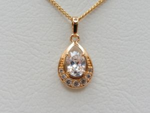 Buy classic oval design pendant with chain 18 ct gold necklaces buy classic oval design pendant with chain 18 ct gold necklaces uae souq aloadofball Image collections