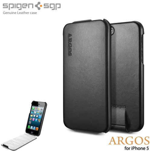 huge selection of d1a13 144c8 SGP iPhone 5 Argos Genuine Leather Cover / Case - Black
